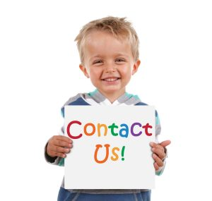 Smiling child holding a sign which reads 'Contact us!'